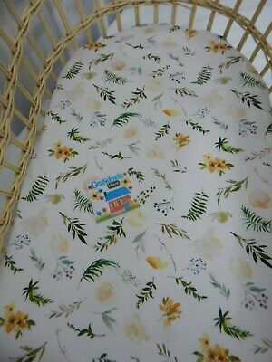 Bassinet Fitted Sheet Sweet Vanilla Fern 100% Cotton FITS STANDARD BASSINET