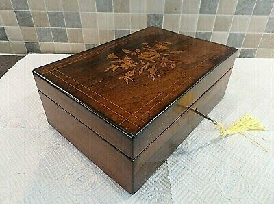 ANTIQUE 19thC FRENCH INLAID ROSEWOOD BOX WITH FLORAL MARQUETRY - LOCK & KEY
