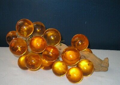 Vtg Large Lucite Acrylic Resin Grape Cluster Wood Stem Amber Orange