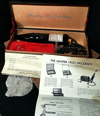 ANTIQUE Master Violet Ray Therapy Machine, Instructions 2 bulbs TESTED WORKING