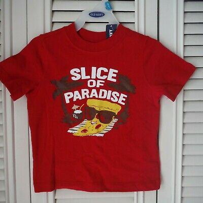 Boys  Red Tee shirt size 18-24 months  Old Navy Slice of Paradise Pizza new tags