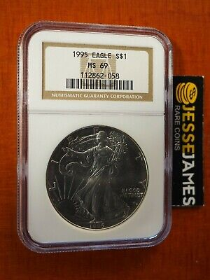 1995 $1 American Silver Eagle Ngc Ms69 Classic Brown Label