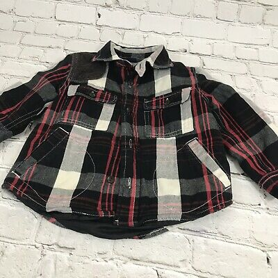 Baby Gap Boy /toddler, Plaid Shirt Lined 2 Years Red/black/white 4 Pockets , LS.