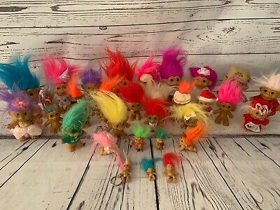 Lot of 30 Vintage 1990s Troll Doll Figures Various Sizes Themes Keychain Holiday