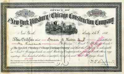1881 New York Pittsburg & Chicago Construction Co  Bond Certificate