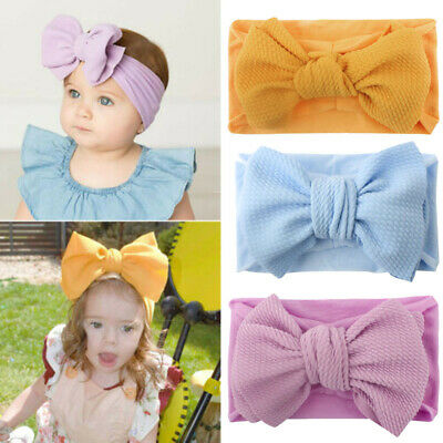 Newborn Girls Baby Elastic Big Bow Hairband Toddler Stretch Turban Headband Wrap
