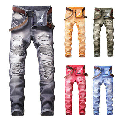 Casual Men Distressed Ripped Biker Slim Broken Jeans Stretched Moto Denim Pants