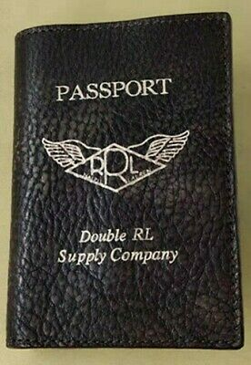Double RL Wings Weathered Fade Scratched Pebbled Cowhide Leather Passport Case