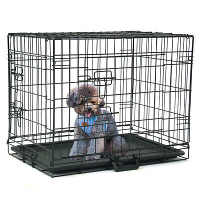 """24"""" INCH Dog Crate Kennel Folding Metal Pet Cage 2 Door Divider Tray Pan NEW"""
