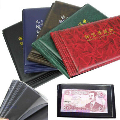 Leather Banknote Currency Collection Album Paper Money Pocket Holders 20 Notes