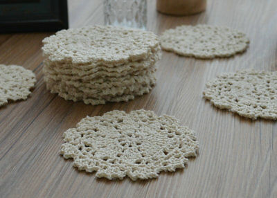 Dozen Crochet Small Round Doilies Lot Ecru Snowflakes Cotton Appliques in bulk