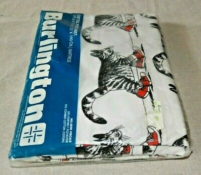 Vintage KLIBAN Cat One Full Fitted Sheet Burlington No-Iron Percale NOS Sealed