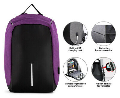 Anti-Theft Backpack with USB Charging Port - Purple AA20