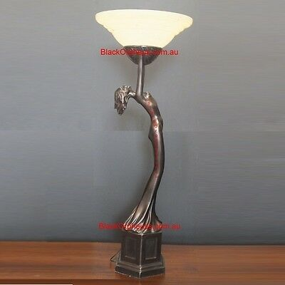 Art Deco Lamp, H106cm, Up Light Table Lamp, Round Glass Shade, Lady Lamp