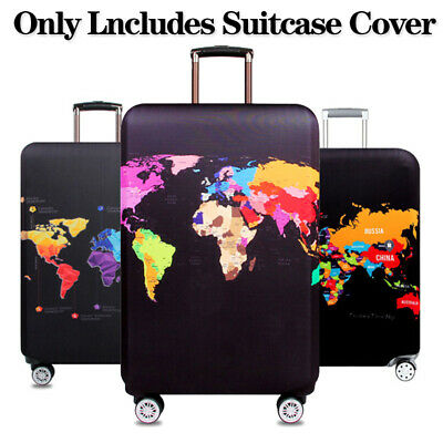 1PC Elastic Luggage Case Cover World Map Suitcase Trolley Protector Thicken