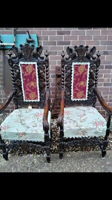 Victorian throne chairs with ornate wood carved detail  (MATCHING PAIR)