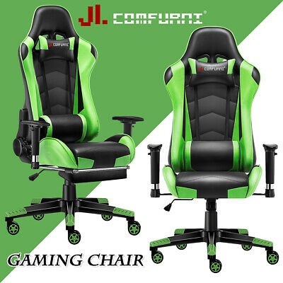 Green Racing Gaming Chair Fx Leather Recliner Executive Office Chair JL Comfurni