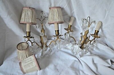 Pair of vintage French solid bronze wall sconces with cut glass prisms