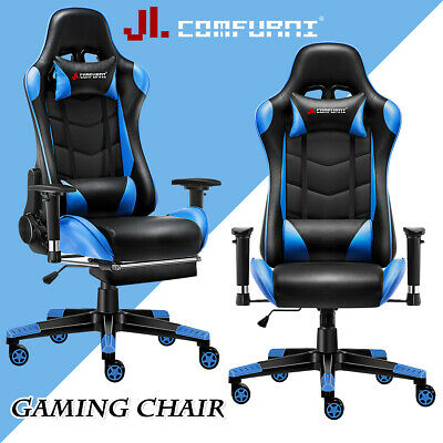 Blue Racing Gaming Chair Fx Leather Recliner Executive Office Chair JL Comfurni