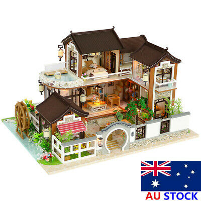 AU DIY Dollhouse Miniature Furniture Kit LED Kids Birthday Xmas Gift Model House