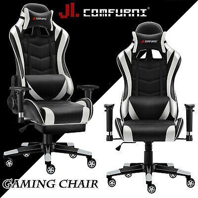 White Racing Gaming Chair Fx Leather Recliner Executive Office Chair JL Comfurni