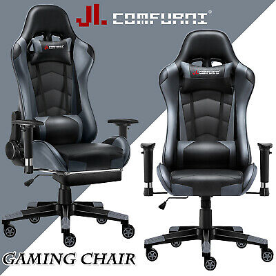 Grey Racing Gaming Chair Fx Leather Recliner Executive Office Chair JL Comfurni