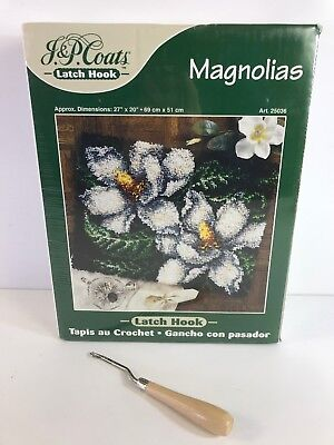 MAGNOLIAS Latch Hook Kit 25036 Includes Tool NIB SEALED 20x27 Rug J & P Coats