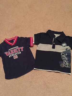 Lot of 2 Boys Size 18 month Short Sleeve Shirts GUC