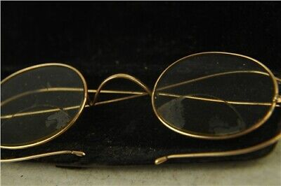 Antique Bifocal Spectacles Round Brass Frames in Original Case Velvet Lining