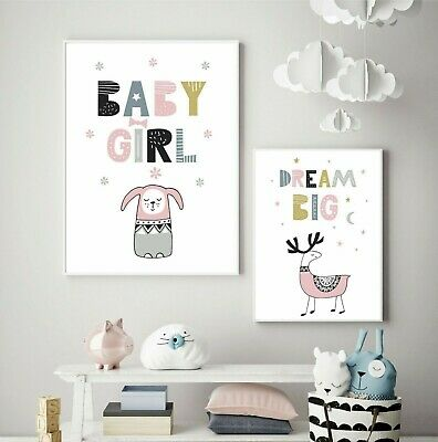 Girls Nursery Prints x 2 / Children's Wall Art / Bedroom / Nursery Picture Print