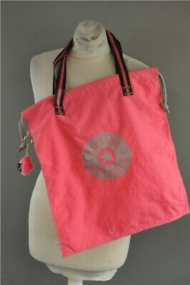 Kipling Women's New Hiphurray Shopper Tote Drawstring Bag Pink BNWT Medium