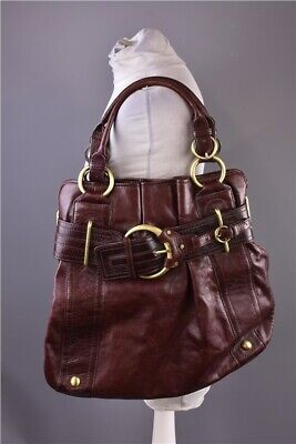 Ladies Karen Millen Large Dark Brown Leather Handbag  with Gold Tone Metal Trim