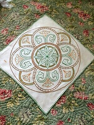 "original Arts & Crafts / Gothic hand embroidered linen table cloth 21"" x 20"""