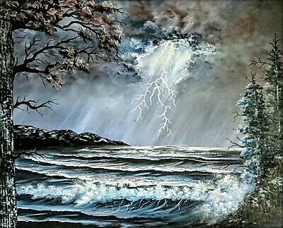 Original Signed Seascape Oil Painting 24x30 Canvas Bob Ross Paints & Technique
