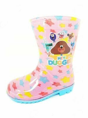 Kids Childrens Girls Pink Blue Hey Duggee Wellies Snow Rain Boots Size 5-10