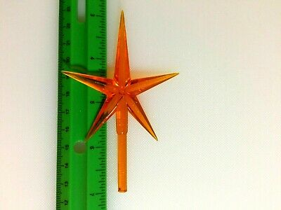 "LARGE ORANGE STAR Ceramic Christmas Tree TOPPER 2.5"" Wide"