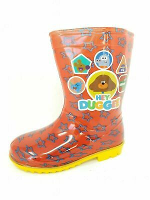 Kids Childrens Boys Girls Red Yellow Hey Duggee Wellies Rain Boots Size 5-10