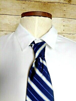 "Robert Talbott Blue Cream Ribbon Stripe Hand Sewn Silk Mens Tie 57"" L 3.75"" W"