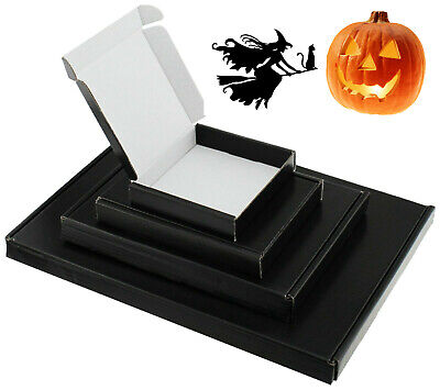Satin Black Mini A6 A5 A4 Pip Boxes Large Letter Shipping Halloween Jewellery