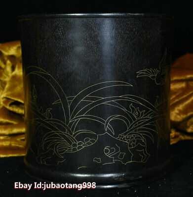 """6"""" Old China Rosewood wood wire inlay Gold Flowers Bird Brush Pot pen container"""