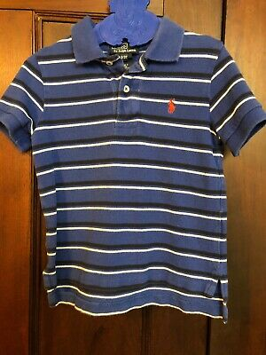 Ralph Lauren Polo Shirt Toddler Boy 3/3T Blue And White Striped