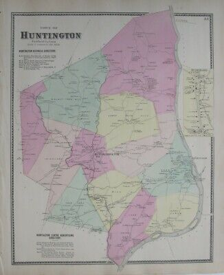 Original 1867 Beers Map HUNTINGTON SHELTON Fairfield County Connecticut Derby