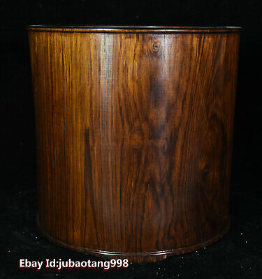 """8"""" Old Chinese HuangHuaLi Wood Carved pen container Brush Pot pencil vase Statue"""