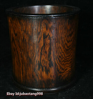 """6"""" Old Chinese HuangHuaLi Wood Carved pen container Brush Pot pencil vase Statue"""