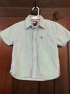 Toddler Boy Tommy Hilfiger Striped Button Down Short Sleeve Shirt Size 3T