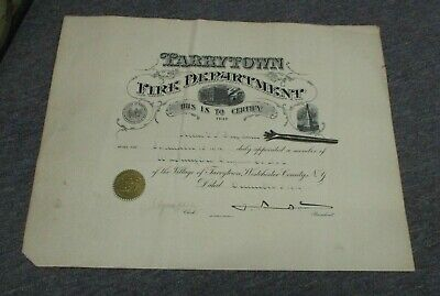 1919 TARRYTOWN, Westchester County NY Fire Department Certificate
