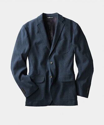 $855 Oobe Brand Men'S Blue Check Seersucker Blazer Sport Coat Jacket Size M