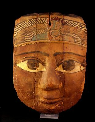 *SC* LARGE EGYPTIAN WOODEN MUMMY MASK w. WINGED SCARAB!!