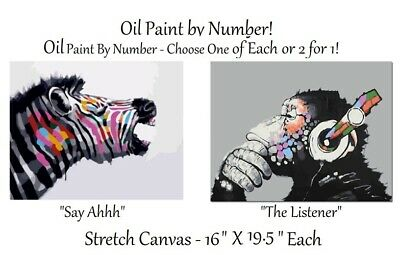 2 KITS - Paint By Number Oil Paint Abstract Ape & Zebra  PLUS Frames!!