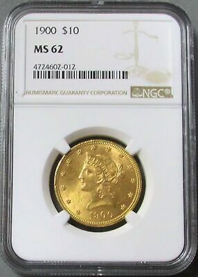 1900 Gold $10 Liberty Head Eagle Coin Ngc Mint State 62